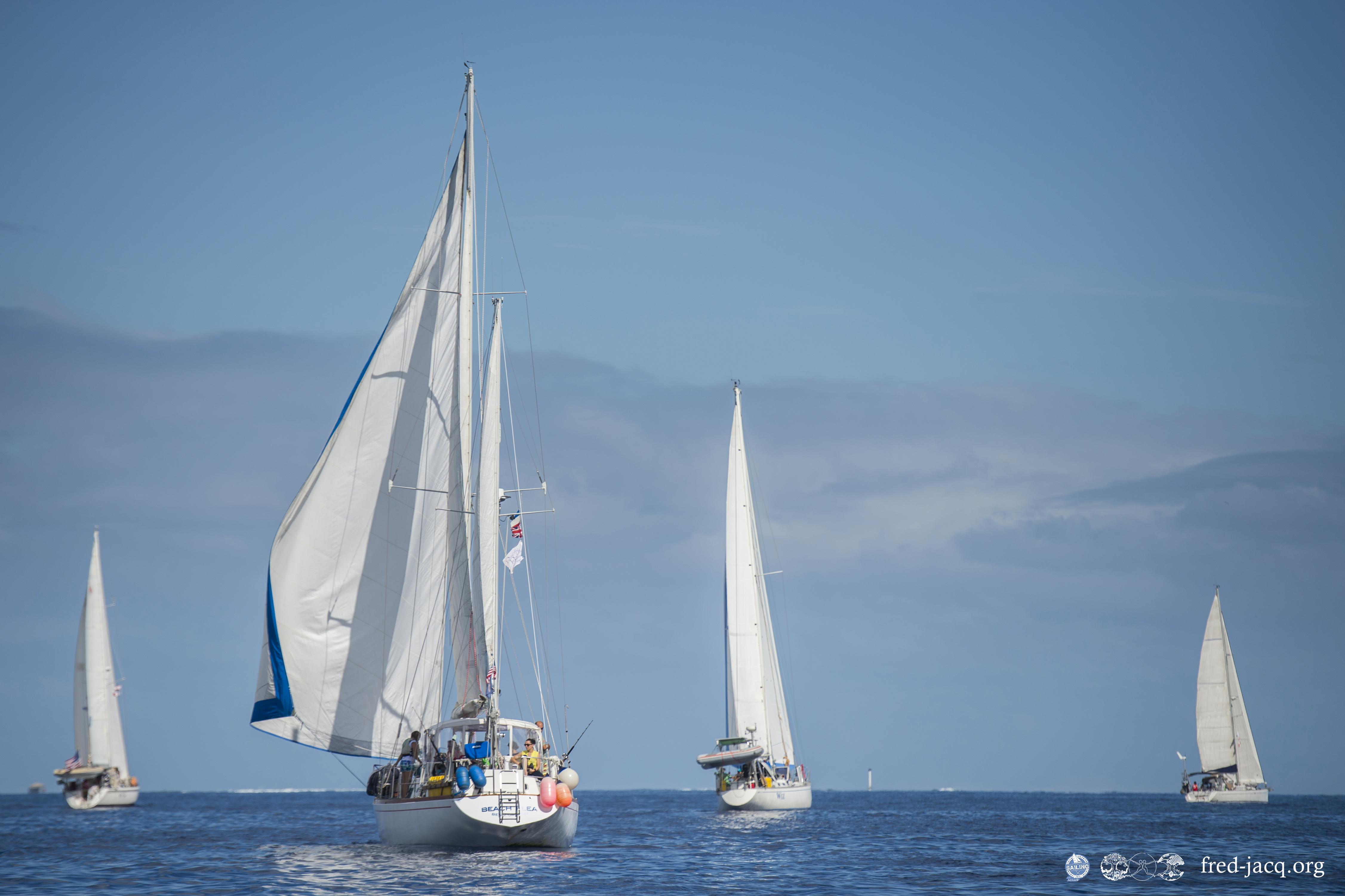 Départ dans la passe de Papeete de la Tahiti_Moorea Sailing Rendez-Vous