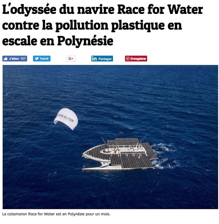 L'odyssée du navire Race for Water contre la pollution plastique en escale en Polynésie