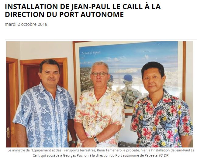 INSTALLATION DE JEAN-PAUL LE CAILL À LA DIRECTION DU PORT AUTONOME